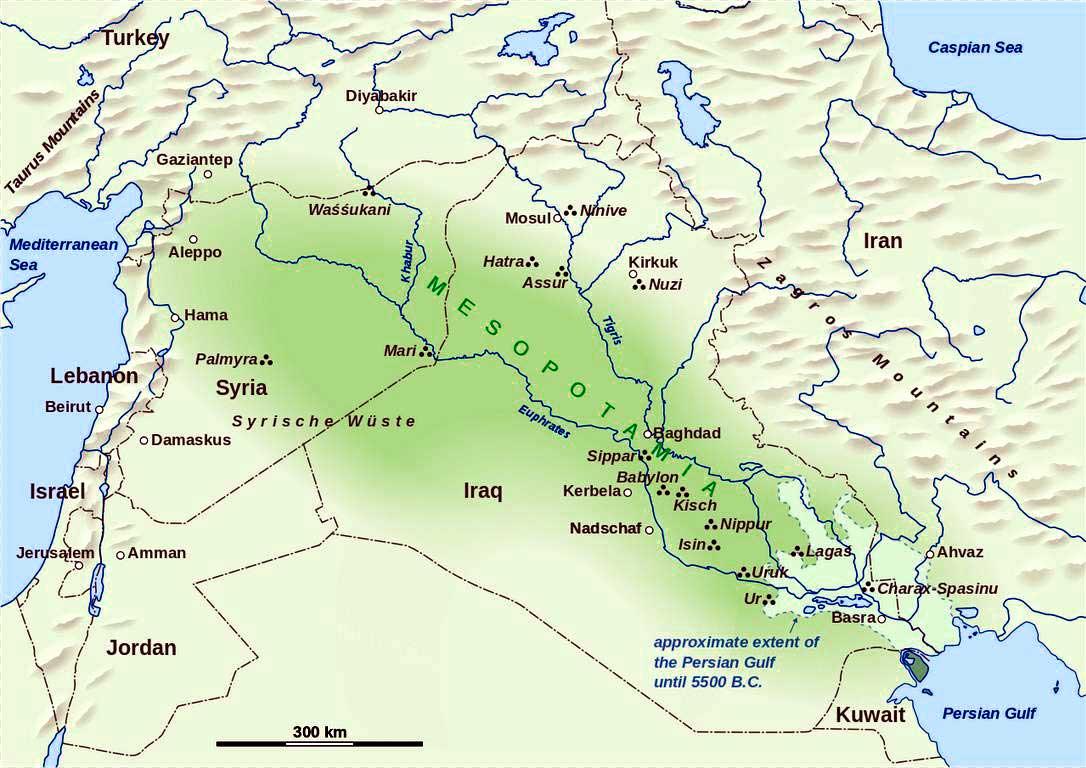 map of Ancient Mesopotamian Civilization