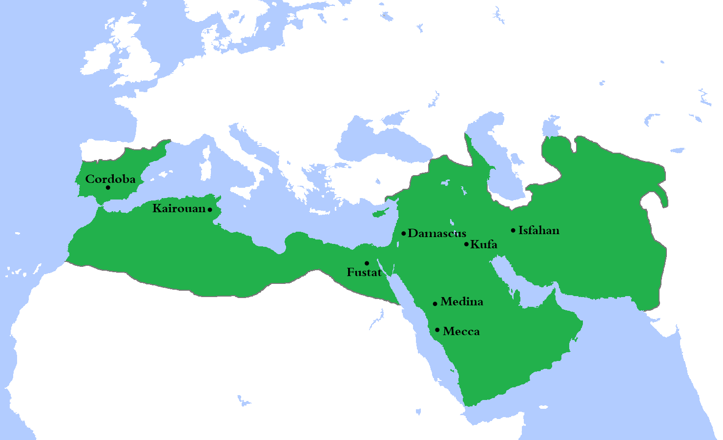 map showing the extent of Umayyad Dynasty (661-750 AD)
