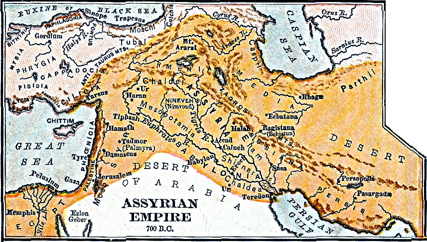 Map of Assyrian Empire 700 BC
