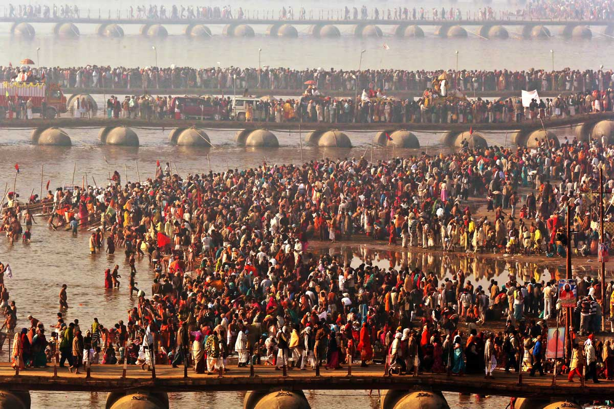 gathering of people during kumbh mela