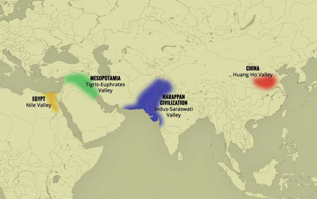 four ancient civilizations and their relative area on map
