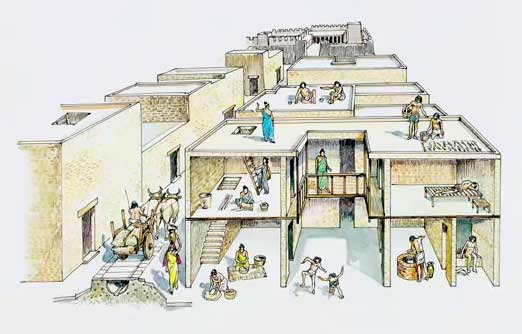Schematic drawing showing Indus Valley houses